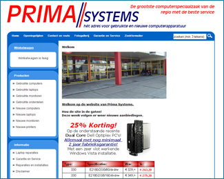 website Prima Systems gemaakt door Flash3000 Productions